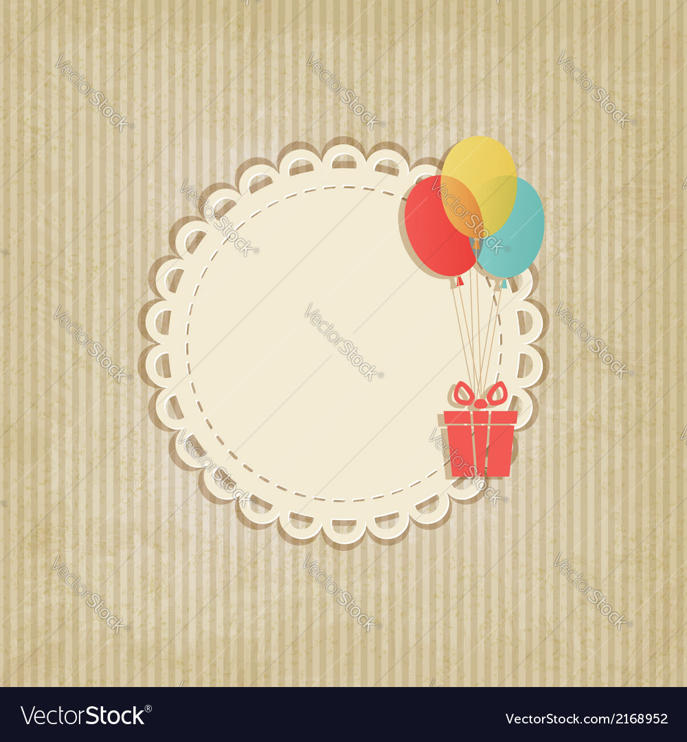 Gift on colored balloons retro striped background vector | Price: 1 Credit (USD $1)