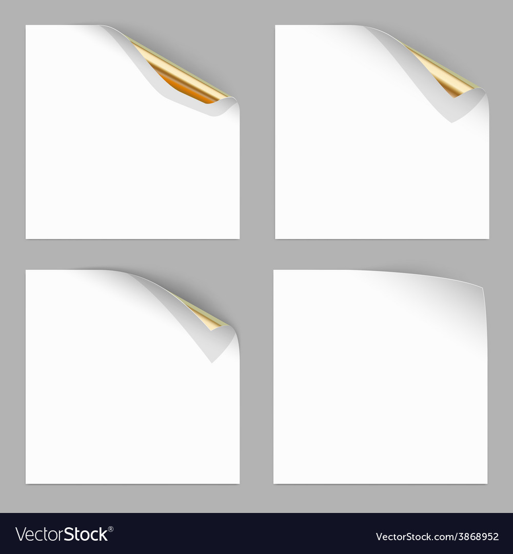 Gold curled corner of paper sheets stock vector | Price: 1 Credit (USD $1)