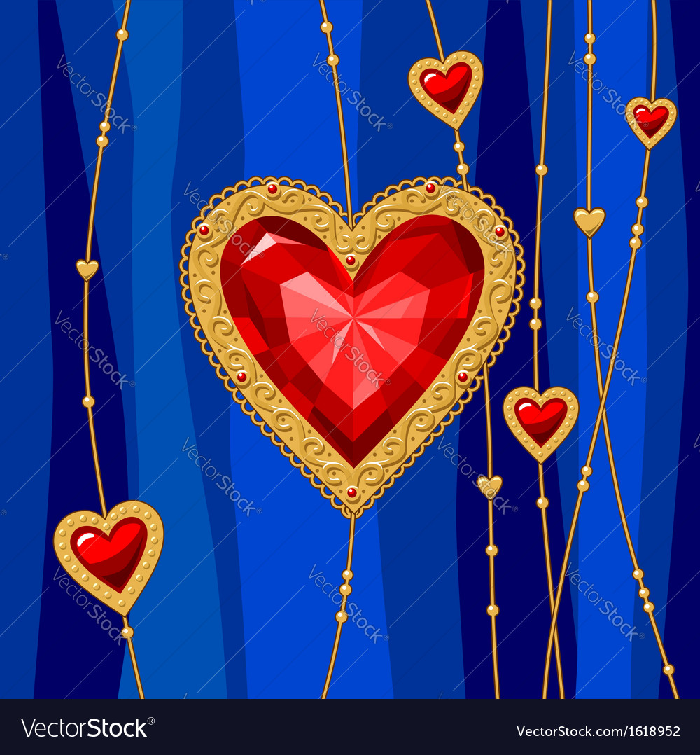Jewel heart blue vector | Price: 1 Credit (USD $1)