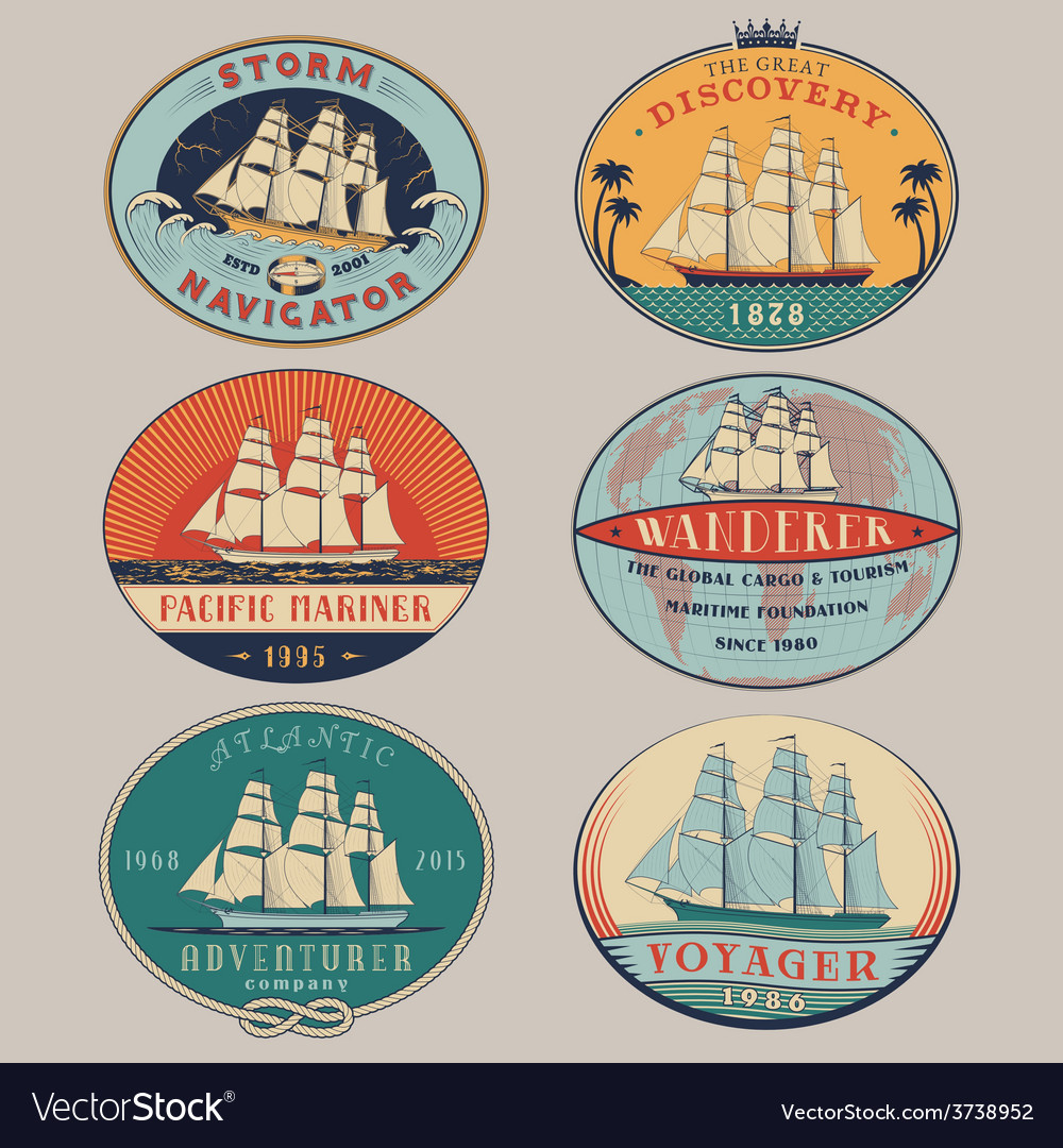 Nautical labels color vector | Price: 1 Credit (USD $1)
