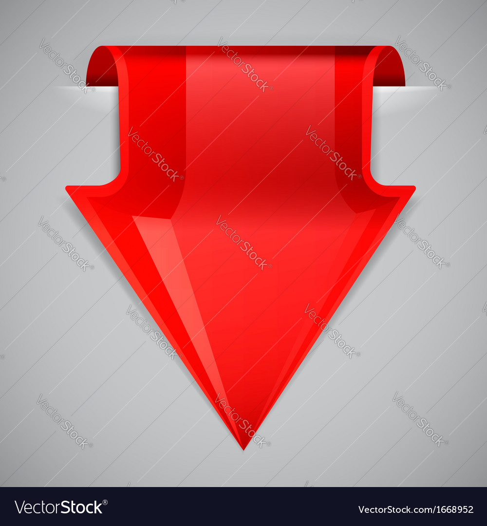 Red arrow bookmark design element vector | Price: 1 Credit (USD $1)