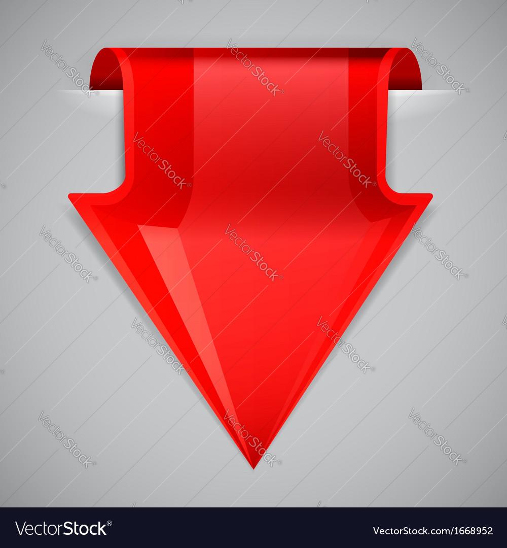 Red arrow bookmark design element vector | Price: 1 Credit (USD $1)