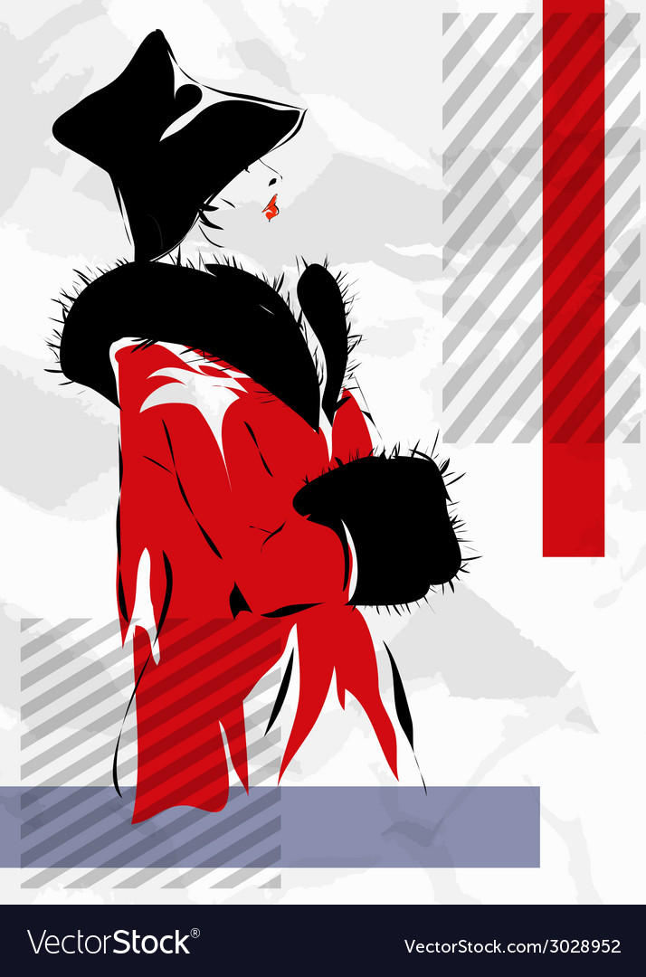 Retro the woman in a red coat vector | Price: 1 Credit (USD $1)