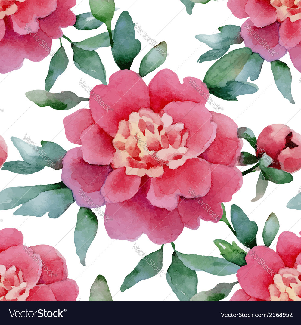 Seamless peonies vector | Price: 1 Credit (USD $1)