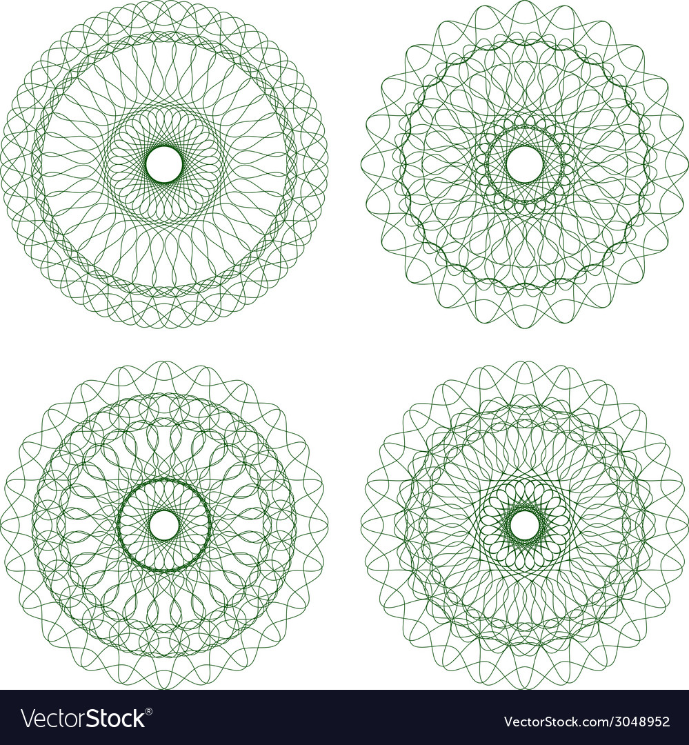 Set of green guilloche rosettes vector | Price: 1 Credit (USD $1)
