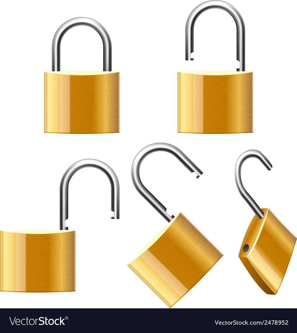 Set of padlocks open and closed vector | Price: 1 Credit (USD $1)