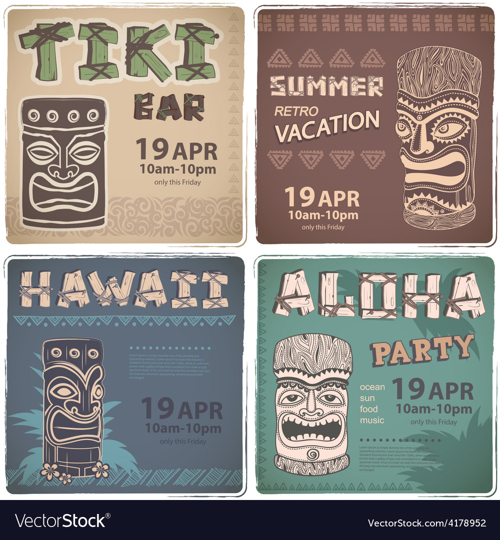 Set of retro hawaiian banners vector | Price: 1 Credit (USD $1)