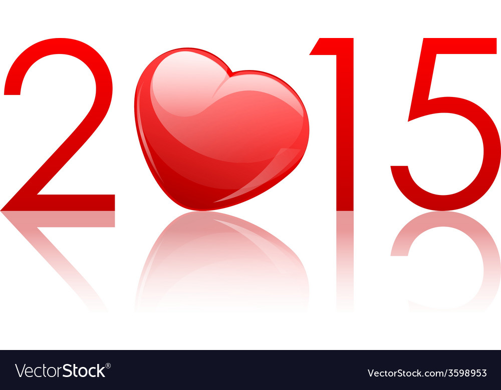2015 new year background with heart vector | Price: 1 Credit (USD $1)