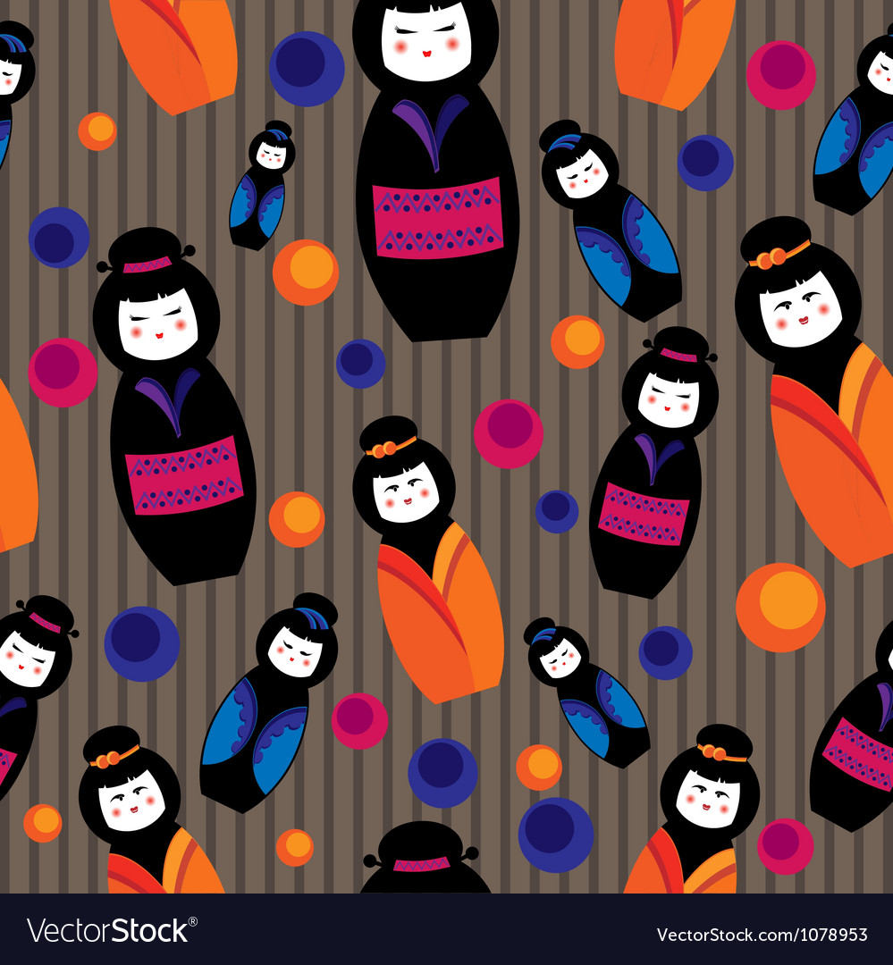 Background with kokeshi dolls vector | Price: 1 Credit (USD $1)