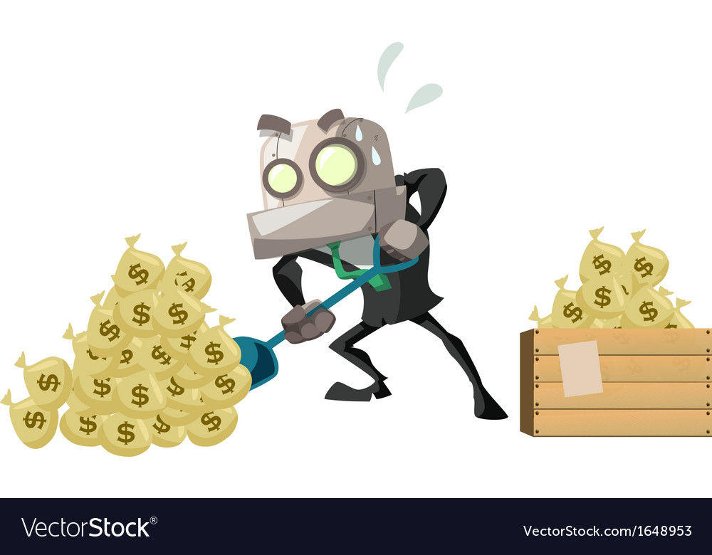 Businessrobot dig money vector | Price: 1 Credit (USD $1)