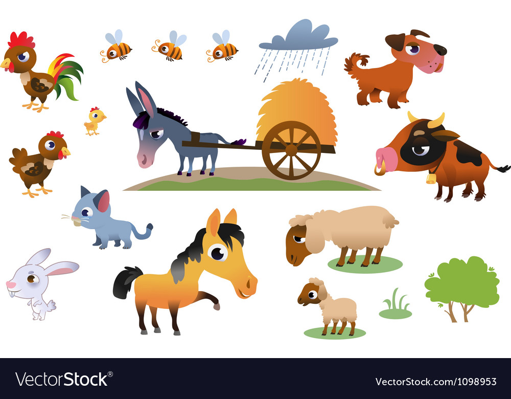 Collection of farm animals vector | Price: 3 Credit (USD $3)