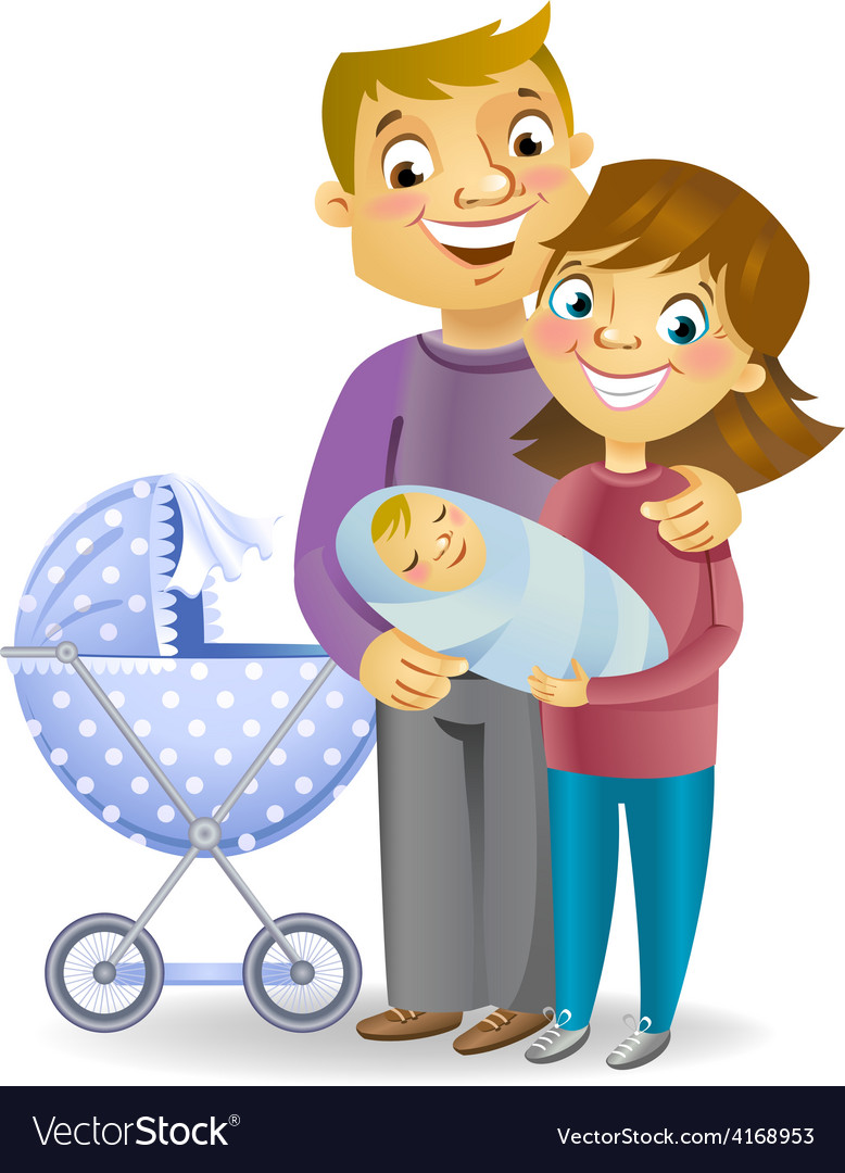 Couple with baby vector | Price: 3 Credit (USD $3)