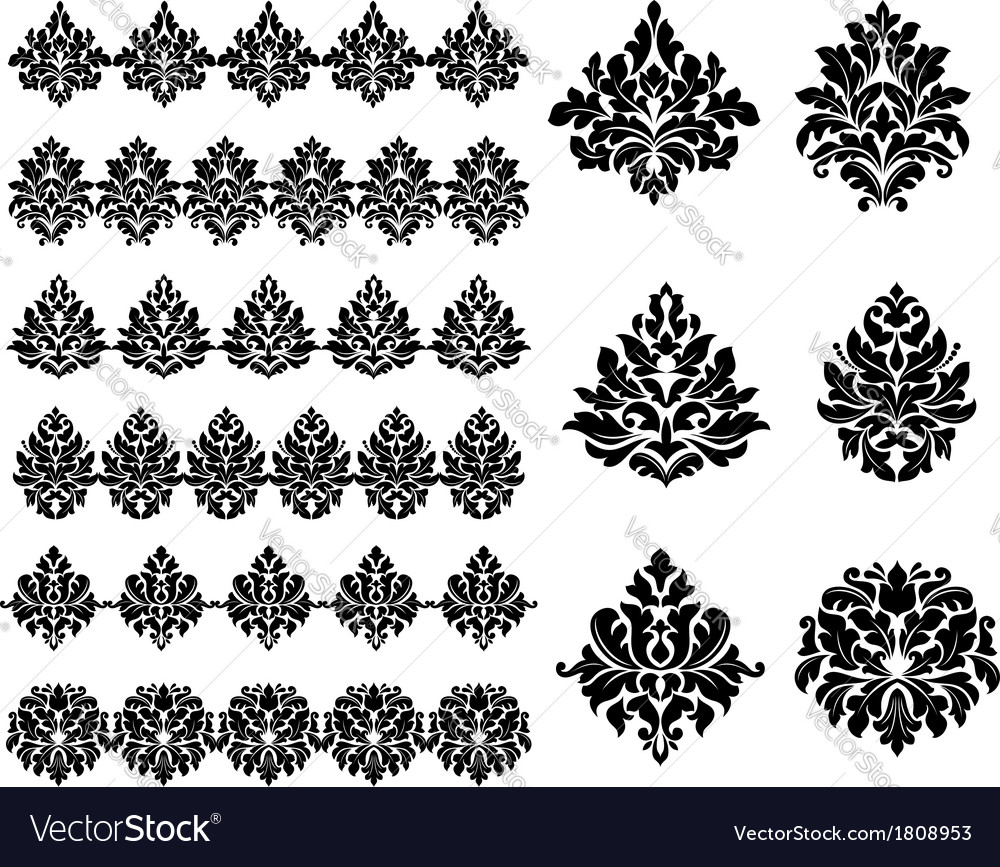 Floral and foliate design elements vector | Price: 1 Credit (USD $1)