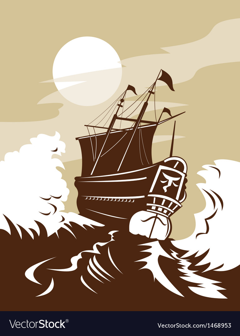 Galleon sailing ship at sea vector | Price: 1 Credit (USD $1)
