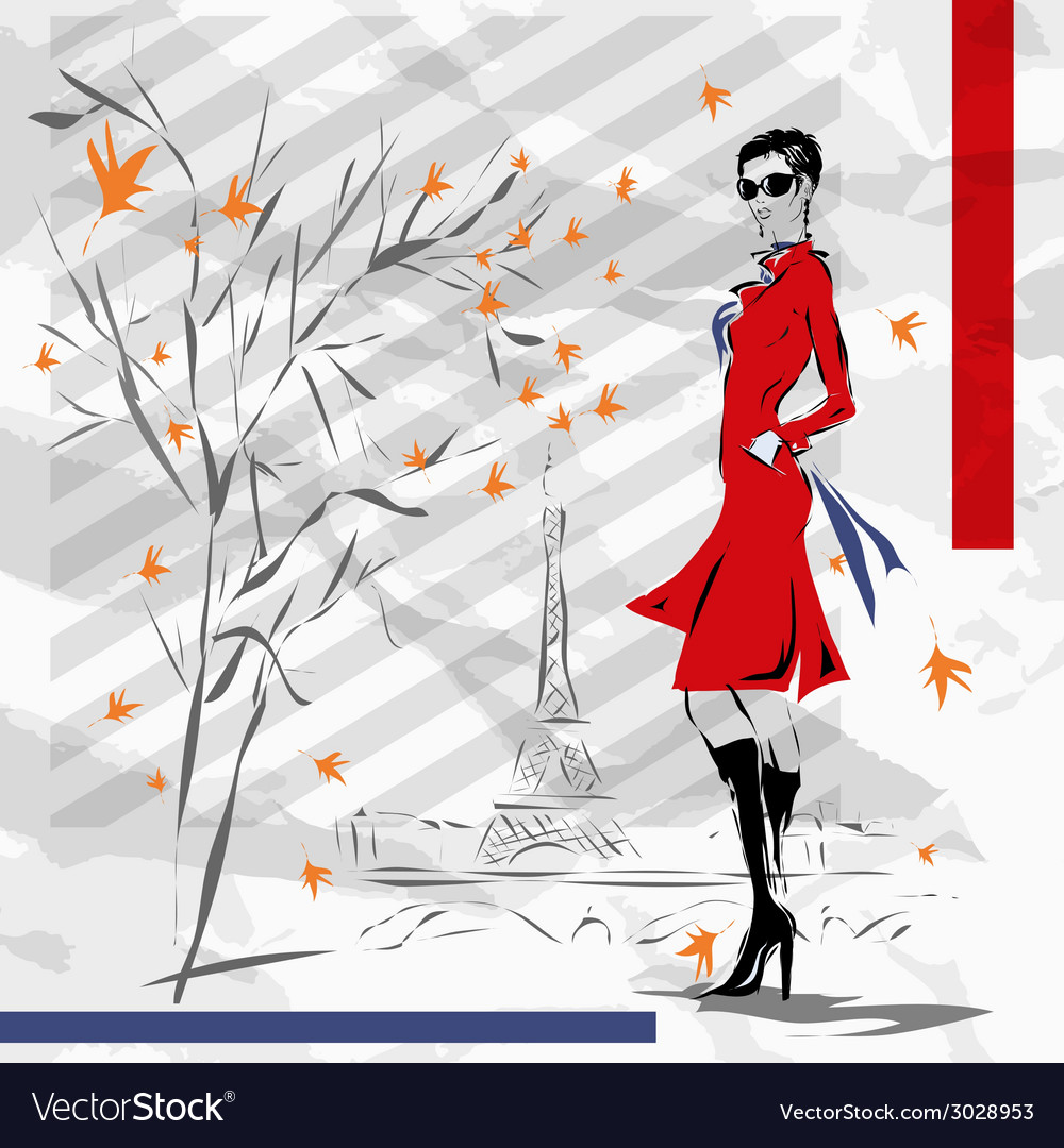The girl in a red coat vector | Price: 1 Credit (USD $1)