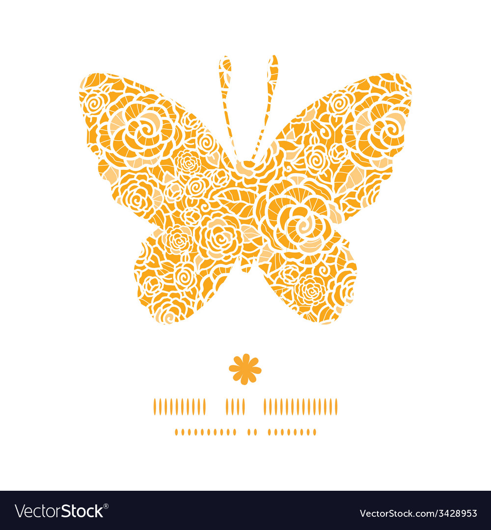 Golden lace roses butterfly silhouette pattern vector | Price: 1 Credit (USD $1)