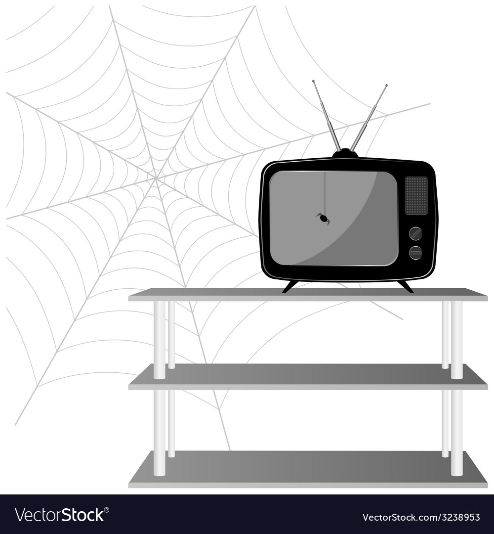 Old tv with spider vector | Price: 1 Credit (USD $1)
