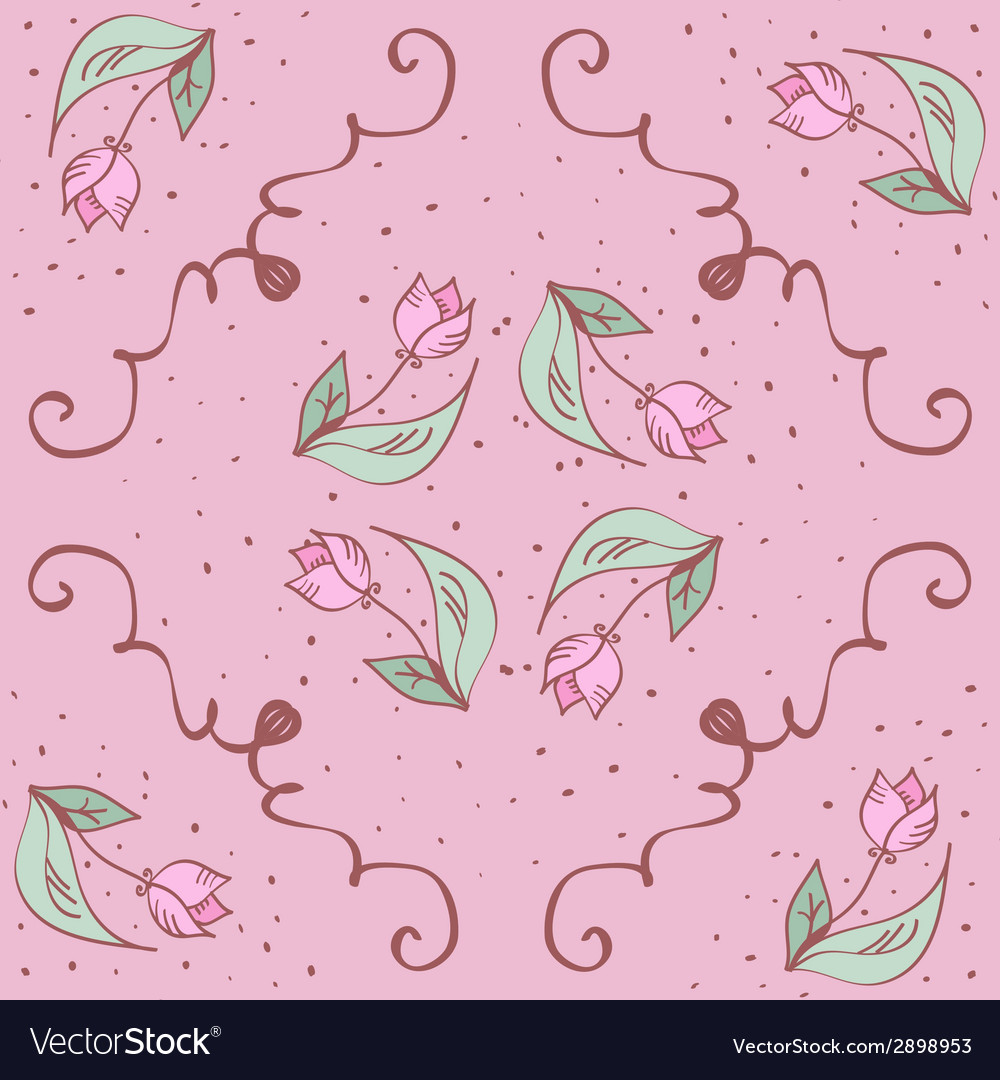 Pink hand drawn tulips seamless pattern can be vector | Price: 1 Credit (USD $1)