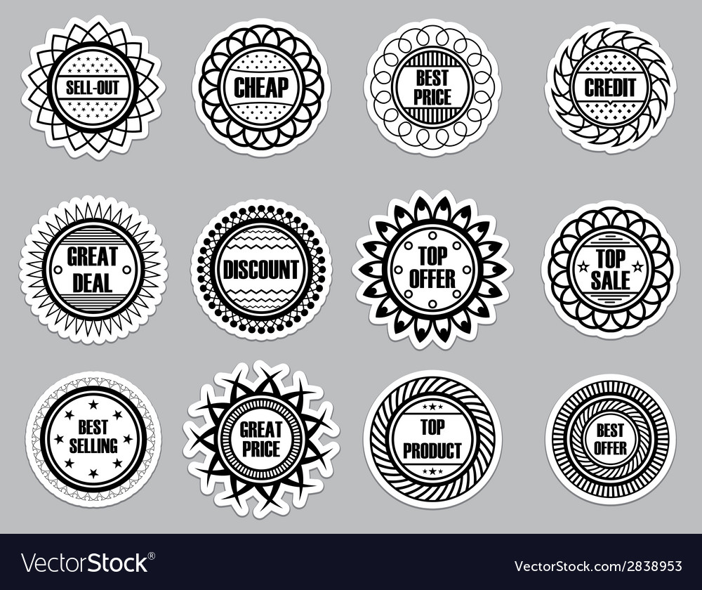 Set sticker for selling vector | Price: 1 Credit (USD $1)