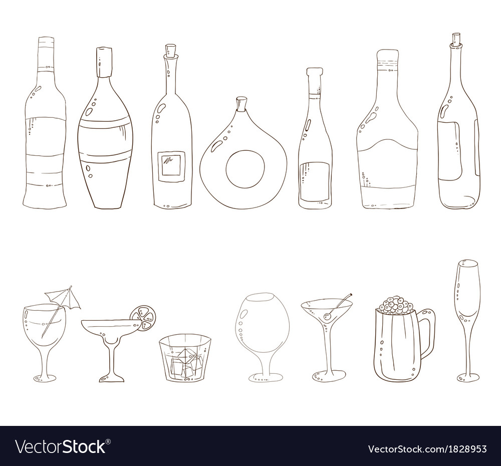 Sketch of wine bottles vector | Price: 1 Credit (USD $1)