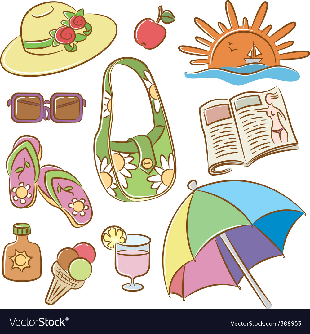 Summer female vacation icons set vector | Price: 3 Credit (USD $3)