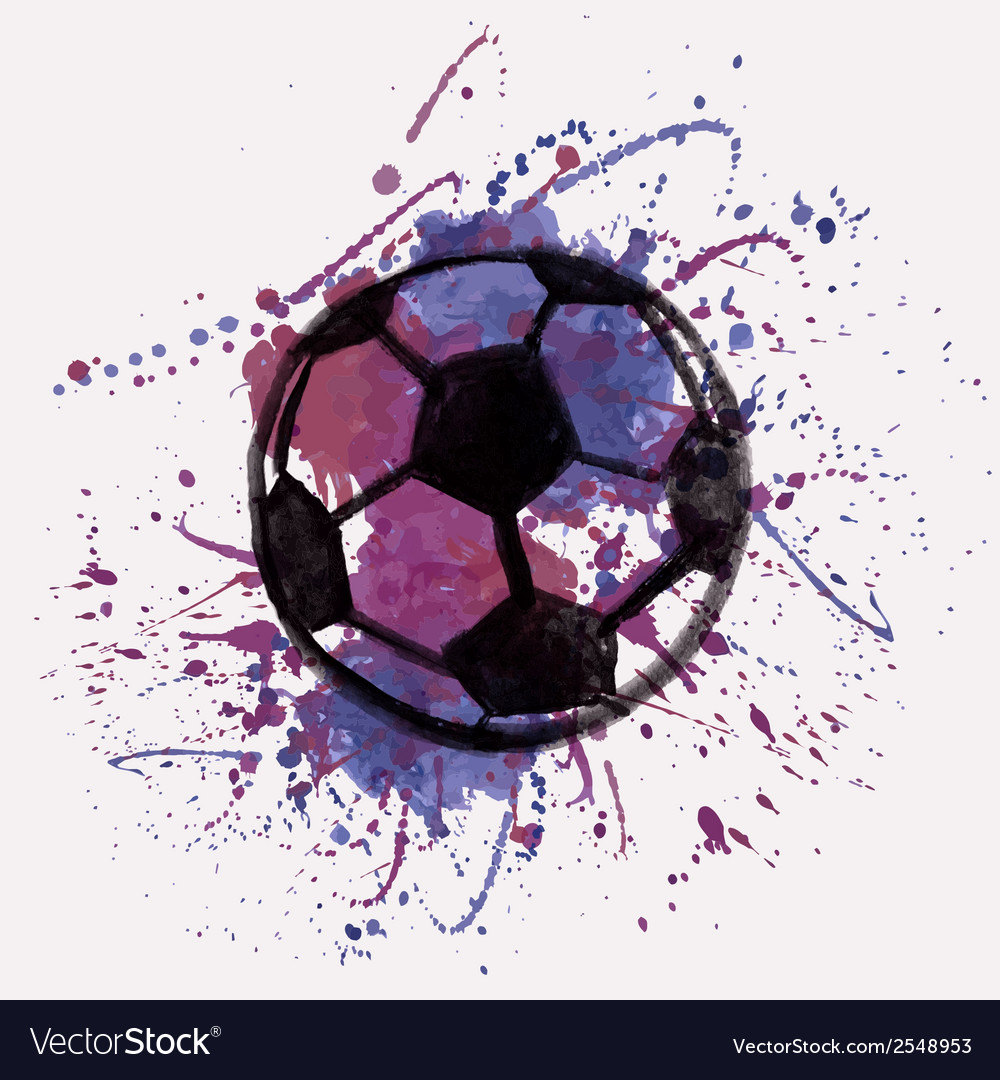 With watercolor soccer ball and splash vector | Price: 1 Credit (USD $1)