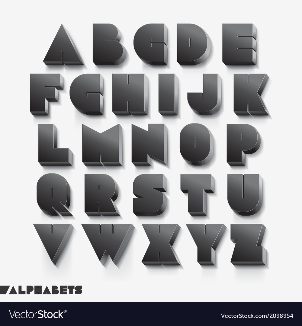3d alphabet black color vector | Price: 1 Credit (USD $1)