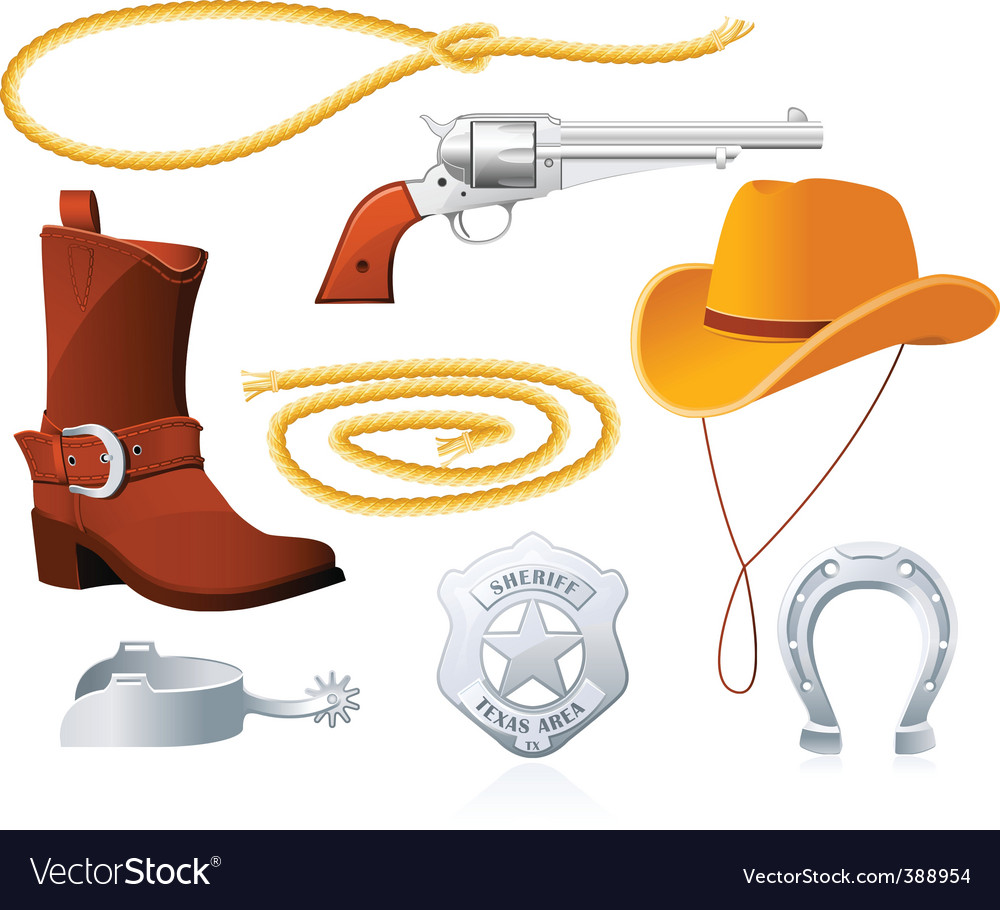 Cowboy accessories vector | Price: 1 Credit (USD $1)