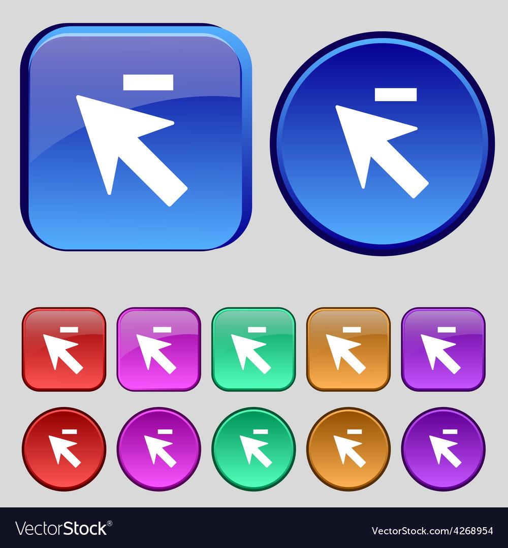 Cursor arrow minus icon sign a set of twelve vector | Price: 1 Credit (USD $1)