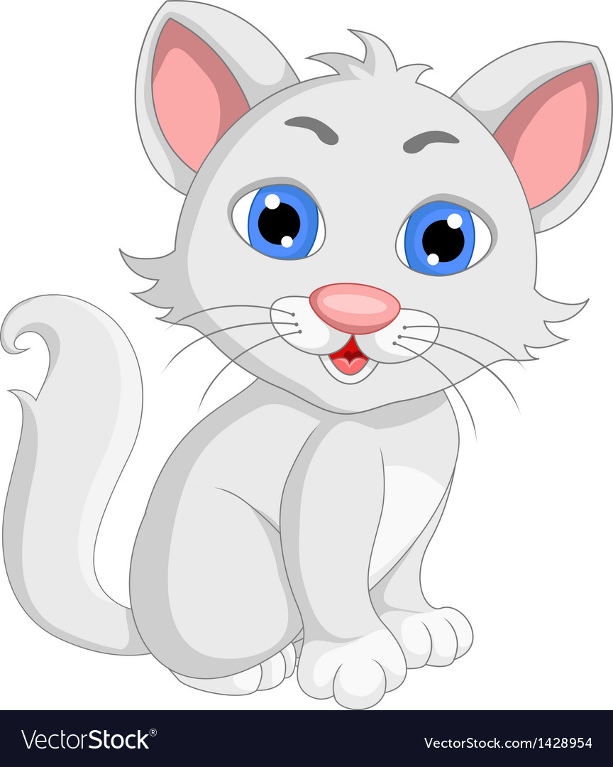 Cute white cat cartoon expression vector | Price: 1 Credit (USD $1)