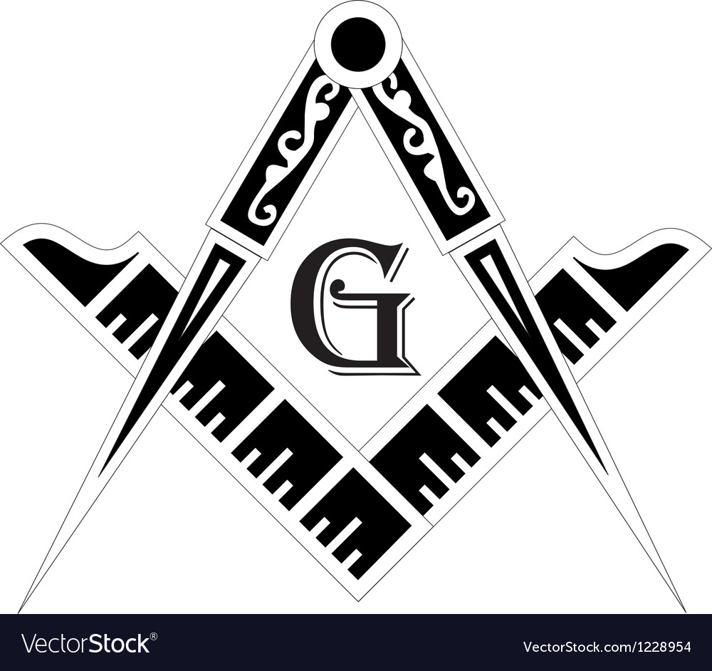 Freemasonry emblem the masonic square and compass vector | Price: 1 Credit (USD $1)