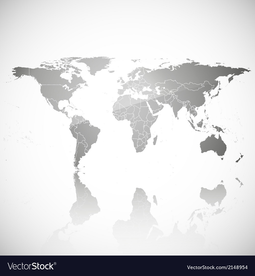 Gray political world map vector | Price: 1 Credit (USD $1)