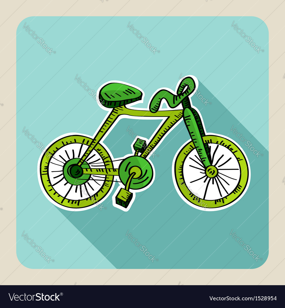 Hand drawn green bike vector | Price: 1 Credit (USD $1)