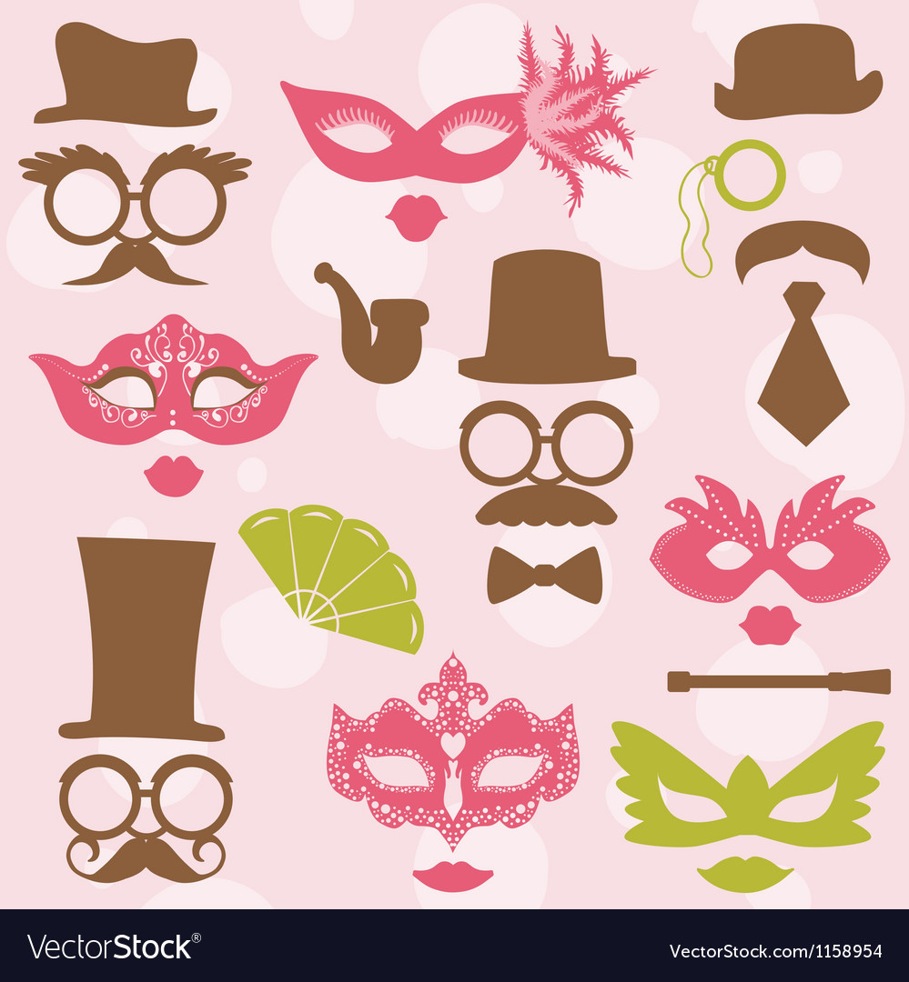 Retro party set - glasses hats lips mustaches mask vector | Price: 1 Credit (USD $1)