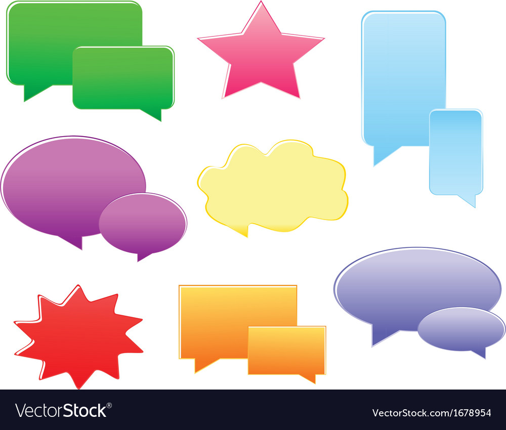 Set of various shapes and colors speech bubbles vector | Price: 1 Credit (USD $1)