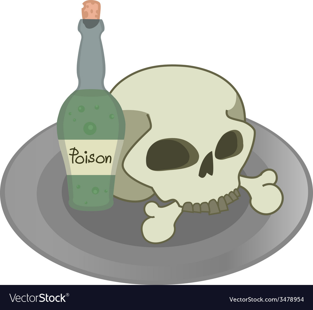 Skull and green poison bottle on a plate vector | Price: 1 Credit (USD $1)