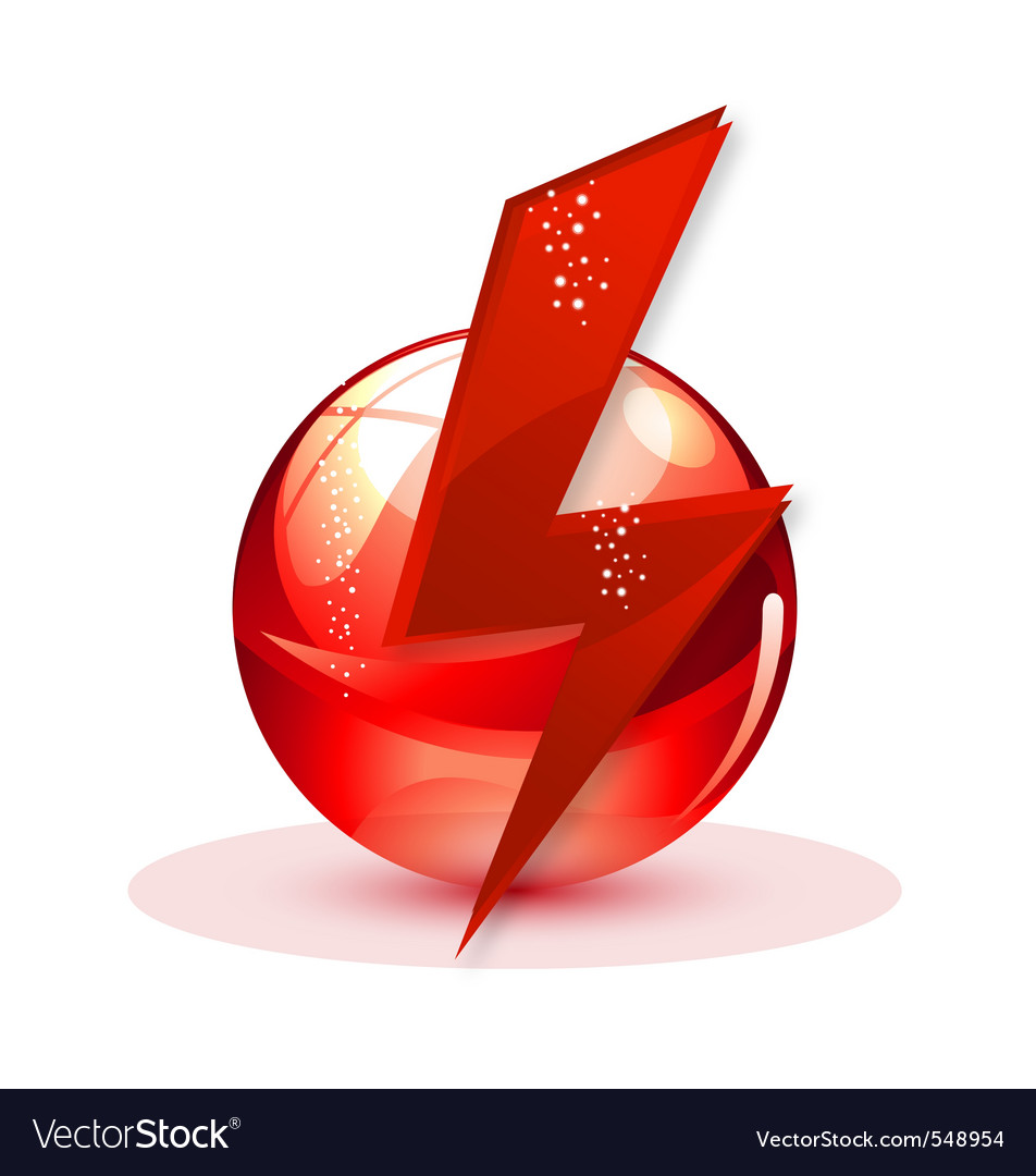 Technology power sign red color isolated vector | Price: 1 Credit (USD $1)