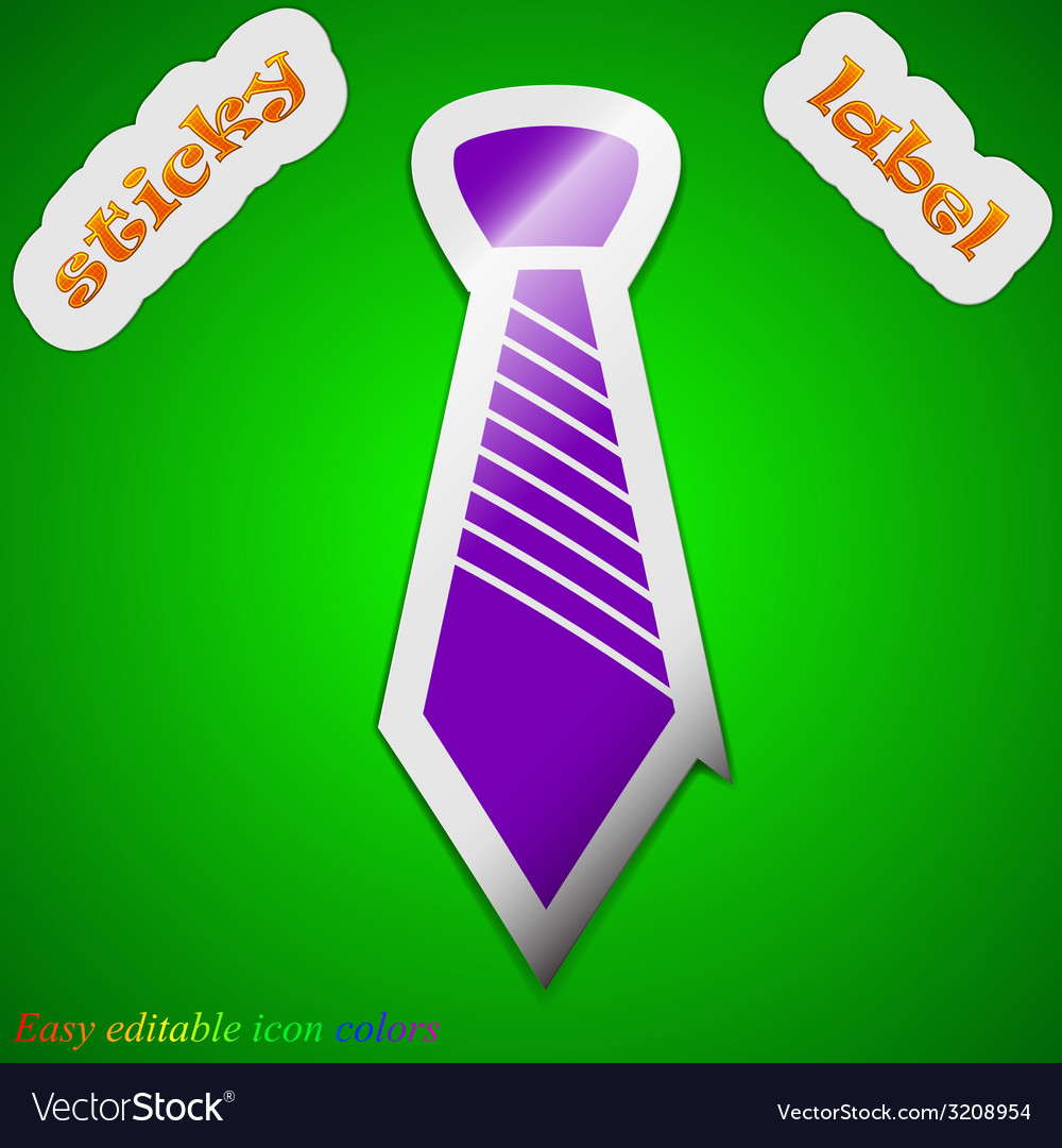 Tie icon sign symbol chic colored sticky label on vector | Price: 1 Credit (USD $1)