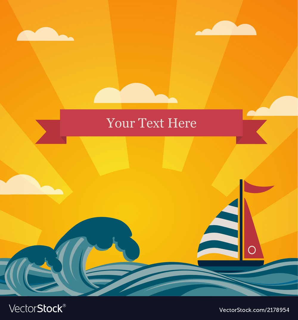 Vintage beautiful sunset seaside background vector | Price: 1 Credit (USD $1)