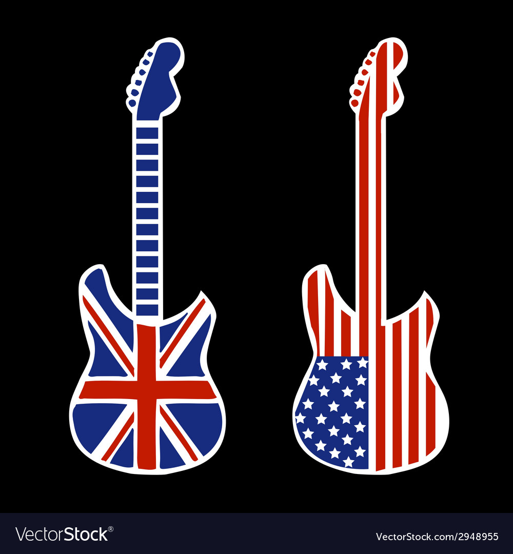 British and american rock and roll guitars vector | Price: 1 Credit (USD $1)