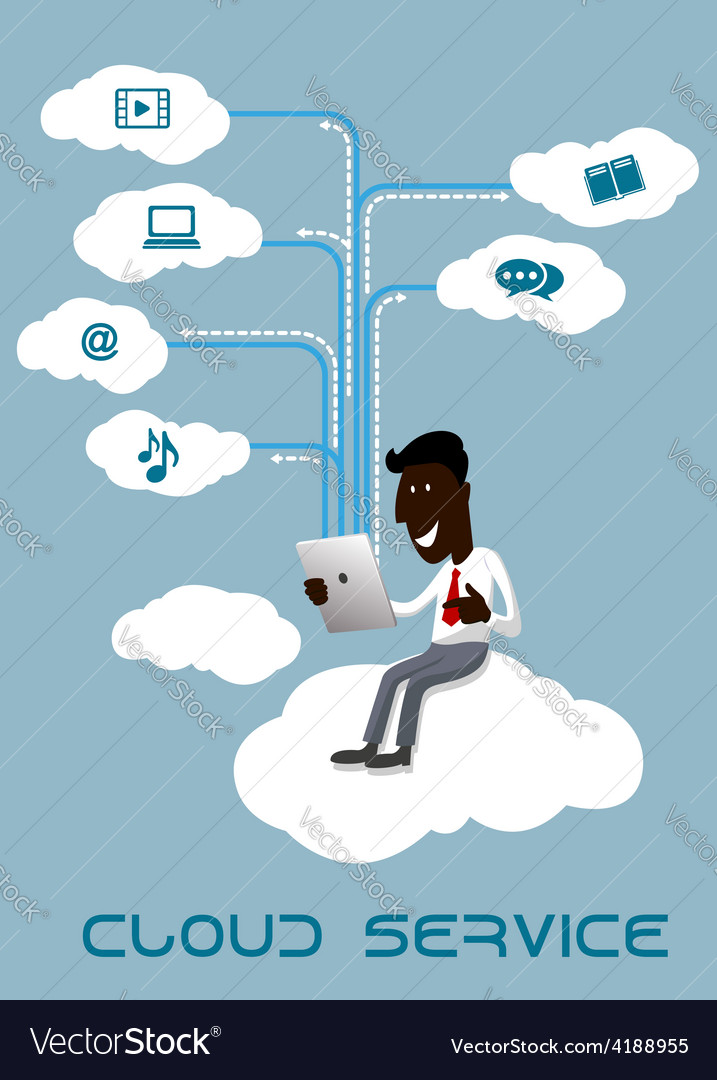 Businessman with tablet sitting on a cloud vector | Price: 1 Credit (USD $1)