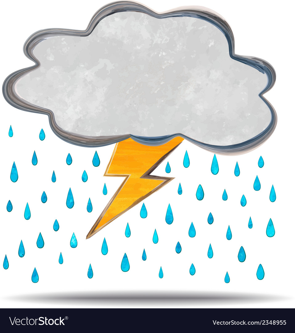 Climate cloud thunder and rain vector | Price: 1 Credit (USD $1)