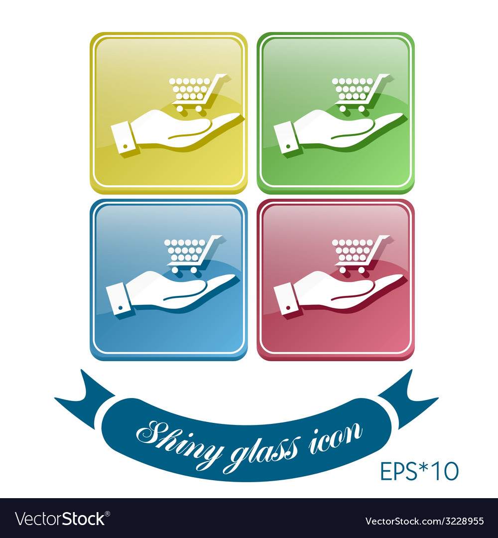 Hand holding a cart online store vector | Price: 1 Credit (USD $1)