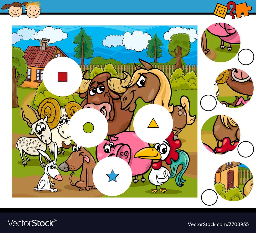 Match pieces game cartoon vector | Price: 1 Credit (USD $1)
