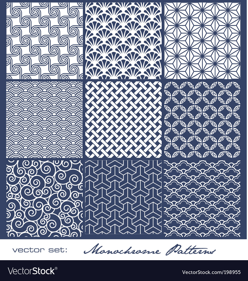 Monochrome tile patterns vector | Price: 1 Credit (USD $1)