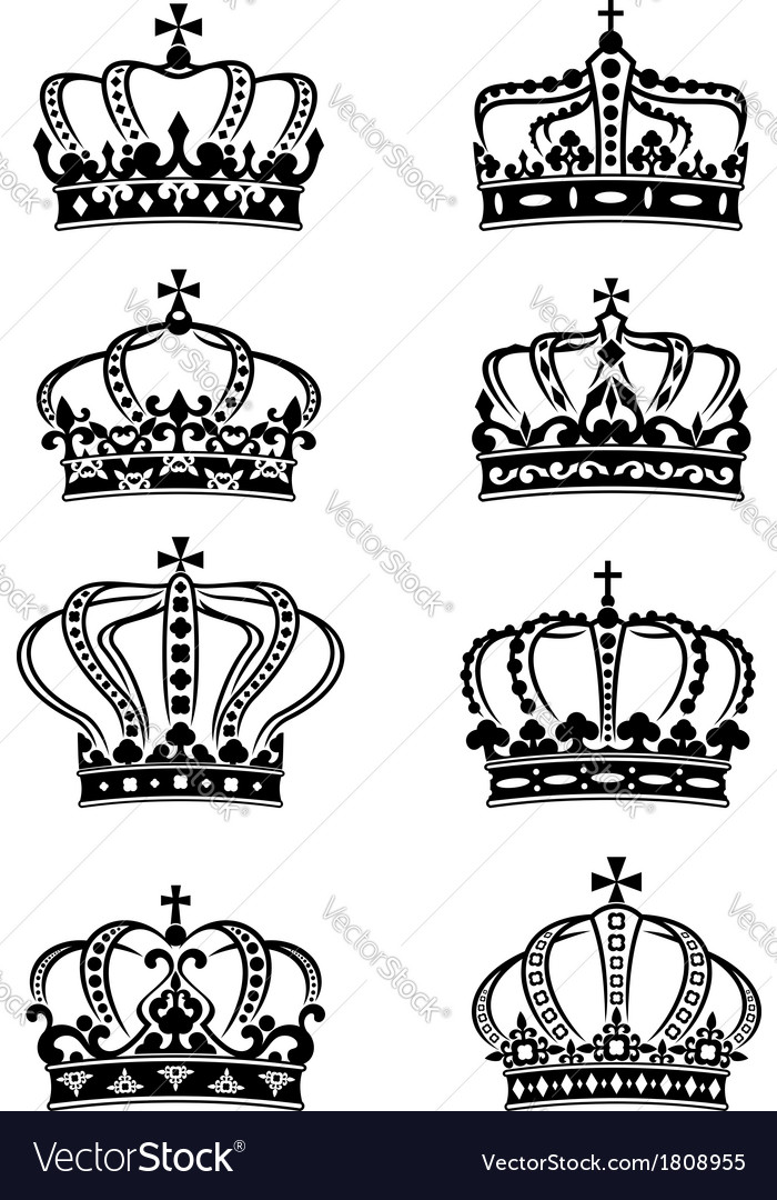 Set of heraldic royal crowns vector | Price: 1 Credit (USD $1)