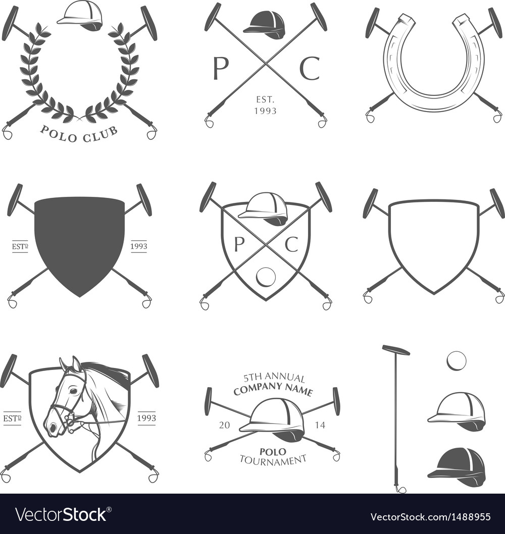 Set of vintage horse polo labels and badges vector | Price: 1 Credit (USD $1)
