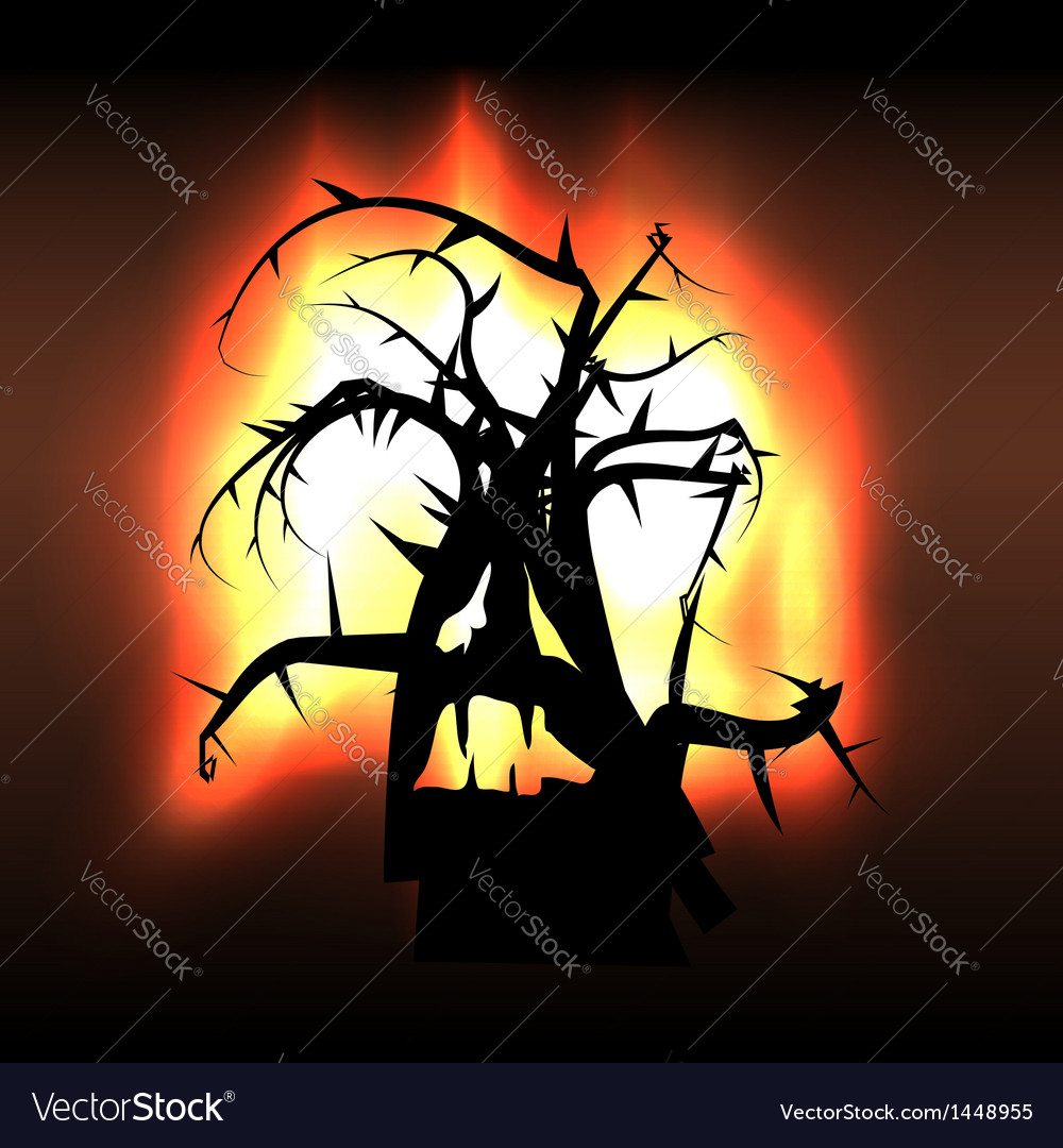 Spooky monster creature tree in flames vector | Price: 1 Credit (USD $1)