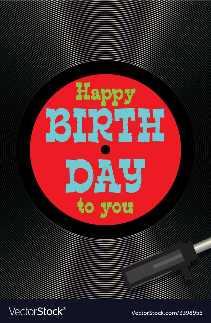 Template greeting card happy birthday on vinyl vector | Price: 1 Credit (USD $1)
