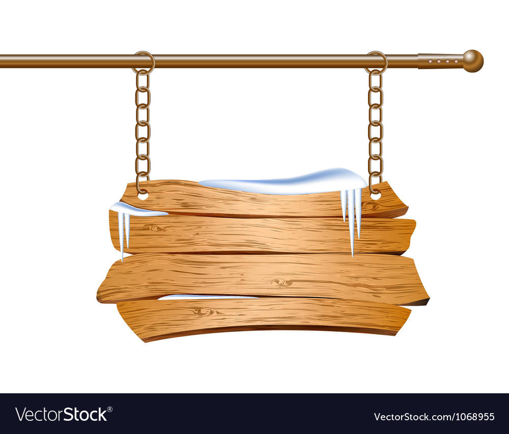 Wooden sign suspended on chains vector | Price: 1 Credit (USD $1)